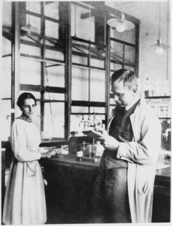 Lise Meitner and Otto Hahn in their laboratory.